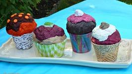DIY, Cupcake Crafts, Cómo hacer cupcakes de papel maché, cupcake de naranja y chocolate