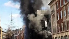 Fire Engulfs a Building on Portland Street Near the BBC in London