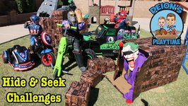 HIDE & SEEK CHALLENGES  SUPERHEROES  DEION'S PLAYTIME