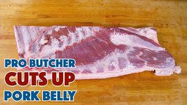 Pro Butcher Cuts Up A Pork Belly