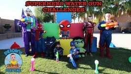 SUPERHERO WATER GUN CHALLENGE  SLIP & SLIDE  MARVEL vs DC