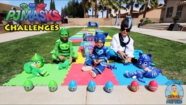 PJ MASKS CHALLENGES with TOYS and SOCCER GOALS