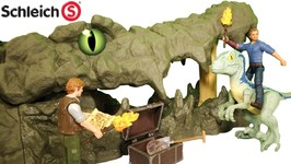 After Jurassic World 2 - Dinosaur Velociraptor Blue, Owen Find Treasure At Crocodile Cave By Schleich