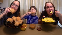 Fried Chicken, Corn And Gravy / Gay Family Mukbang - Eating Show