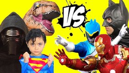 Superhero Park Battle - Batman vs Superman vs Power Rangers vs Kylo Ren vs Iron Man vs T-Rex