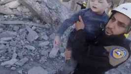 Children Pulled From Rubble After Airstrikes in Idlib Governorate
