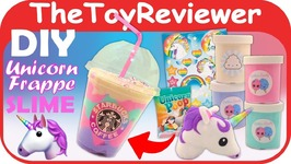 SLIME- DIY Unicorn Frappe Starbucks Frappuccino HoshimiSlimes Unboxing Toy Review