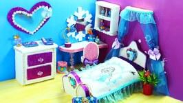 DIY Miniature  Frozen Dollhouse Bedroom for Disneys Elsa