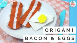 How to Make Origami Bacon and Eggs - Origami Food Tutorial - Easy Paper Crafts for Kids