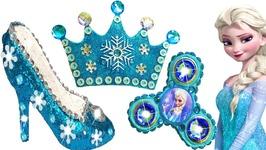 0aefef4dba9 Play Doh Sparkle Disney Princess Frozen Elsa Glitter Shoes High Heels Crown  Playdoh Kids Toys