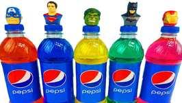 Superhero Pepsi Bottles Wet Surprise Toys Hulk Learn Colors Foam Eggs
