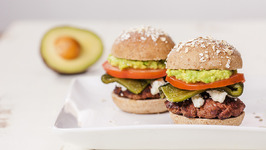 Beef Sliders With Avocado, Roasted Poblano Chile, And Cotija Cheese