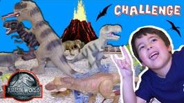 Building Jurassic World Fallen Kingdom Challenge - Dinosaur Toys - Kids Vs Dad (Rich)