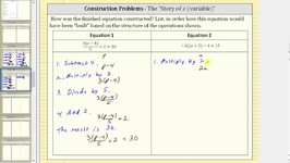 Construction of Equations Using the Story of the Variable (x) - Multi Steps II