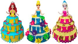 Play Doh Sparkle Cake Dresses For Disney Princesses Elsa Ariel And Snow White Making With Play Doh