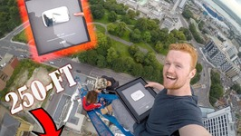 UNBOXING 100K PLAY BUTTON ON TOP OF CRANE