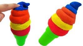 DIY Colors Kinetic Sand Popsicles VS Kinetic Foam Ice Cream Popsicles DIY Play Doh Learn Colors