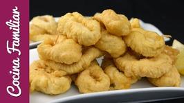 Calamares fritos con pasta Orly