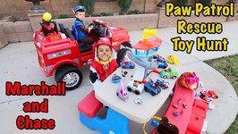 PAW PATROL RESCUE TOY HUNT on FIRE TRUCK RIDE ON