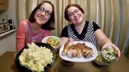 Comfort Food - Mash Potatoes, Chicken And Salad / Gay Family Mukbang - Eating Show