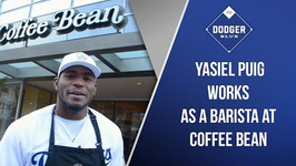 Yasiel Puig Work As Barista At Coffee Bean During Dodgers Love L.A. Community Tour