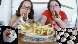 Hot Dogs, French Fries And Cupcakes / Gay Family Mukbang - Eating Show