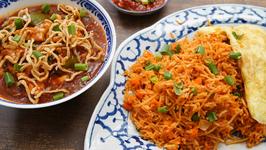 Chicken Triple Schezwan Fried Rice - Restaurant Style Chicken Fried Rice - Indo-Chinese Recipe