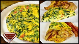 Spinach And Feta Cheese Frittata With Roasted Potatoes