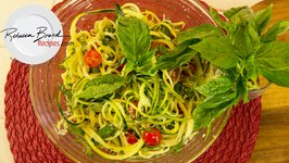 Raw Zucchini Spaghetti With Raw Basil Garlic Sauce