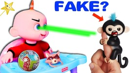 INCREDIBLES 2 JACK JACK Gets FAKE Fingerlings and Attacks - Surprise Toy Game