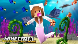 Minecraft Little Kelly : BABY ELLIE TURNS INTO A MERMAID! w/ Baby Duck