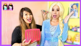 Disney Frozen 2 Elsa in Real Life Make Up and Dress Up Play at Toy Hair Salon
