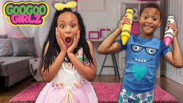 Oh No My Dress Is Ruined! Goo Goo Girlz Learn Colors with Pretend Play Crayon Friend
