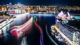 Sydney Harbour Illuminated by Vivid Festival in Timelapse (File)