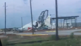 Severe Storm Damages Buildings in Sealy, Texas
