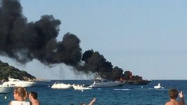 Yacht Destroyed by Fire Off Beach Near Saint Tropez