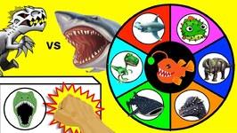 Sharks Vs Dinosaurs Game - Surprise Shark And Dinosaur Toys - Slime Wheel Games For Kids Video