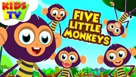 Five Little Monkeys -  Preebeez Cartoons - Nursery Rhymes For Children