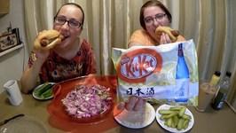 Sake Kit Kat - Sausage And Coleslaw / Gay Family Mukbang - Eating Show