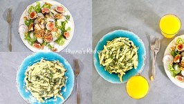 Summer Fig Walnut Salad with Creamy Spinach Alfredo Pasta