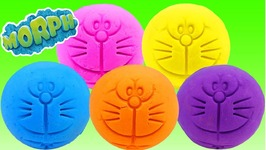 Learn Colors Doraemon Balls Surprise Toys Morph Dough like Play Doh Minnie Mouse Disney Princess