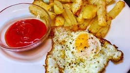 Fried Egg and Chips Using Turnips