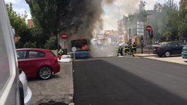 Smoke and Flames Seen as Bus Goes on Fire in Madrid