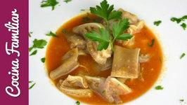 Receta para cocinar oreja de cerdo en salsa picante paso a paso