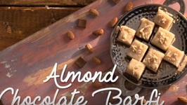 Almond Chocolate Barfi - Easy Dessert - Homemade Chocolate Almond Fudge