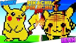 Minecraft PIKACU.EXE VS PIKACHU HOUSE BUILD BATTLE CHALLENGE! Donny & Leah Games