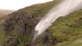 Cumbria Waterfall Blown Uphill by Strong Winds