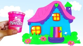 Play Doh Making Colorful Baby Doll House Cottage Popsicle Ice Cream Sparkle Modelling Clay