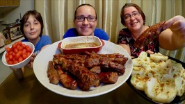 Sweet Sticky Ribs And Cheesy Potatoes -Gay Family Mukbang- Eating Show