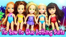 No Sew No Glue Disney Princess Bathing Suits - Easy Doll Crafts
